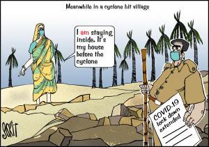 COVID-19 & cyclone cartoon; cartoon: Sorit Gupto