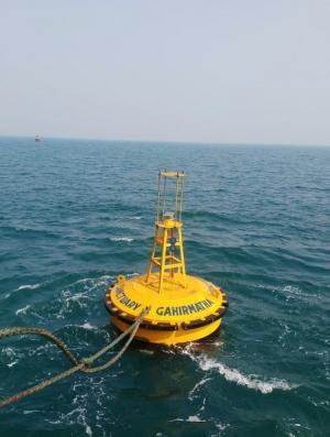 A buoy installed to demarcate the marine limits of the Gahiramatha Marine Sanctuary. Photo: Ashis Senapati