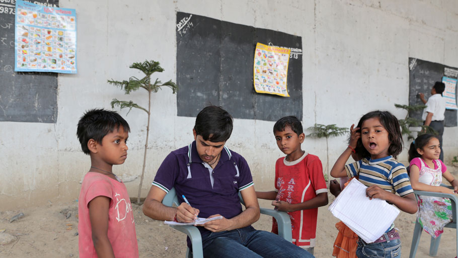 Local people from the area help Sharma by donating books and stationary to children. Parents of these students have also begun to support their children's efforts to educate themselves  Photographs by Vikas Chaudhary Text by Ankita Saxena