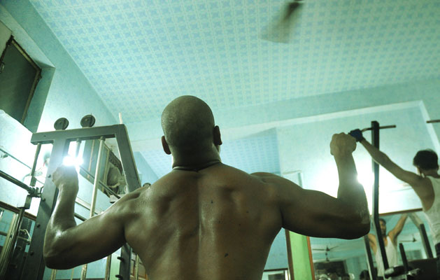 At 105 kilos, Virender Singh boasts being the sole vegetarian bodybuilder in the country.Photographs by: Sayantan Bera