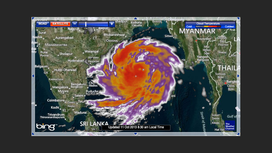 Cyclone Phailin's progress