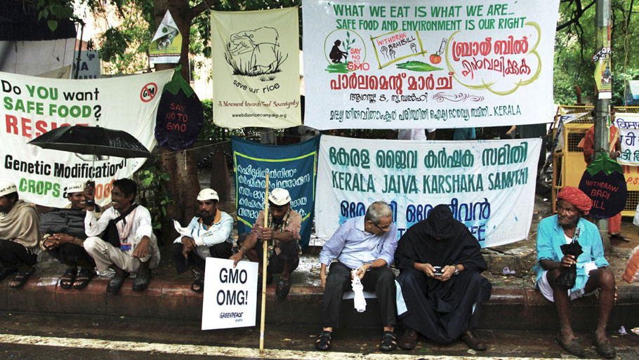 Farmers from twenty states gathered near Janta Mantar to protest against Monsanto, GMOs and biotechnology regulatory billRead story: Quit Monsanto, GM protest near Parliament Photograph by: Soumik Mukherjee