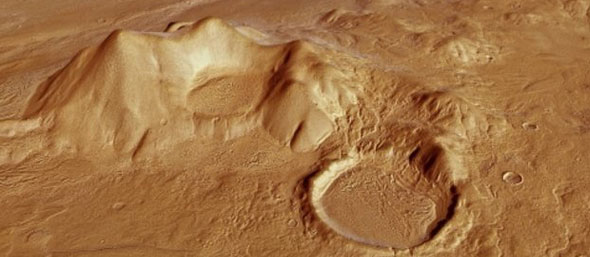 Perspective view of Reull Vallis: A region of Reull Vallis at a point where the channel is almost 7 km wide and 300 m deepCourtesy European Space Agency (ESA)