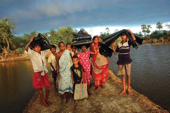 400 km of embankment broken; 565 km more  are vulnerablePhotographs by - Prasanta Biswas/DRIK INDIA/  Majorityworld