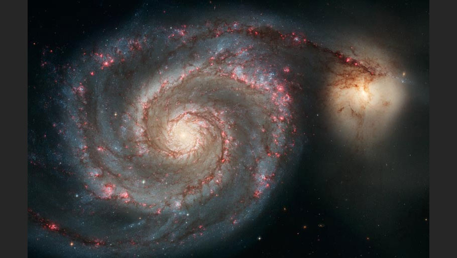 Hubble has captured some jaw-dropping images of galaxies. This is galaxy M51 with old stars in its yellowish central core and the older ones in the curving spiral arms. The picture was taken in 2005