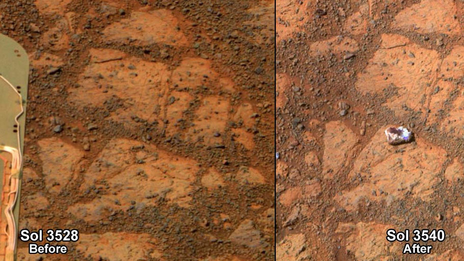 Researchers used Opportunity to find a water-related mineral on the ground that had been detected from orbit, and found it in the dark veneer of rocks on the rim of Endeavour Crater. This false-color view from the panoramic camera (Pancam) on Opportunity shows a dark veneer, exposed after brushing with the rover's rock abrasion tool.Photo courtesy: NASA/JPL-Caltech
