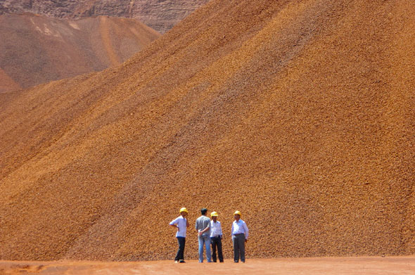 Heaps of iron ore in B Kumar Gowda mine. The mine has resumed operation recently after the banPhotographs by M Suchitra