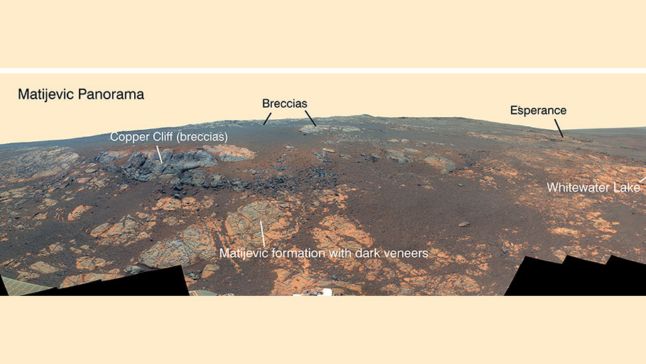 The gold line on this image shows Opportunity's route from the landing site, in upper left, to the area it is investigating on the western rim of Endeavour Crater as of the rover's 10th anniversary on Mars, in Earth years. The base image for the map is a mosaic of images taken by the Context Camera on NASA's Mars Reconnaissance Orbiter.Photo courtesy: NASA/JPL-Caltech