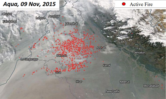 Aqua, 9Nov, 2015: Most fires seen in Sangrur, Ludhiana and Patiala districts ------------- Number of fires (552) almost 80 times the previous day (7)