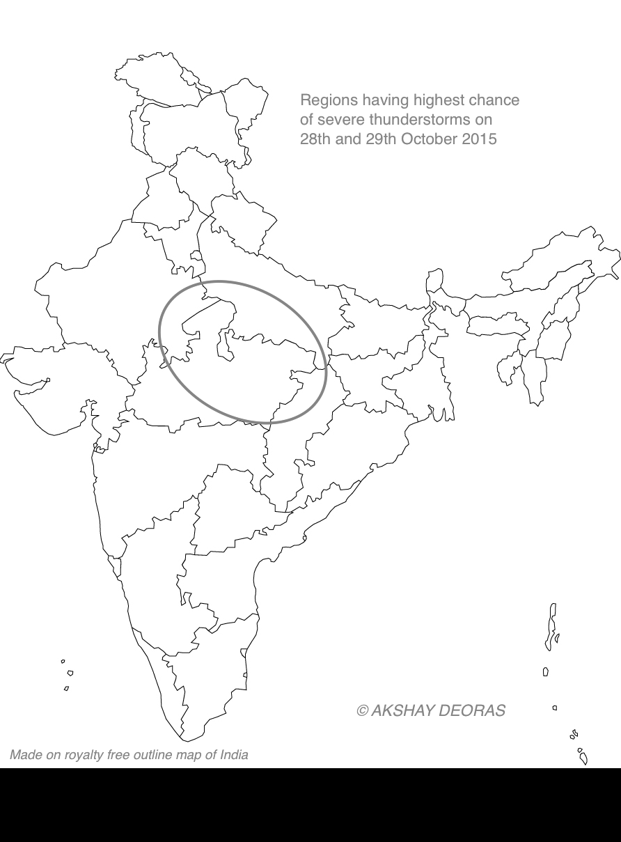 Area circled in grey has the highest chance of witnessing severe thunderstorms on October 28 and 29