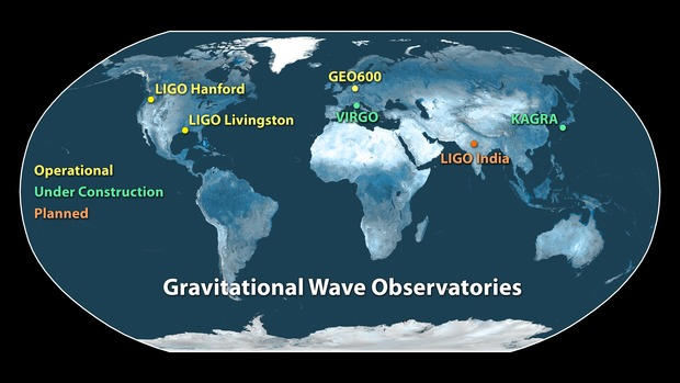Image shows current operating facilities in the global network. These include the twin LIGO detectors—in Hanford, Washington, and Livingston, Louisiana—and GEO600 in Germany. The Virgo detector in Italy and the Kamioka Gravitational Wave Detector in Japan are undergoing upgrades and are expected to begin operations in 2016 and 2018, respectively. A sixth observatory is being planned in India