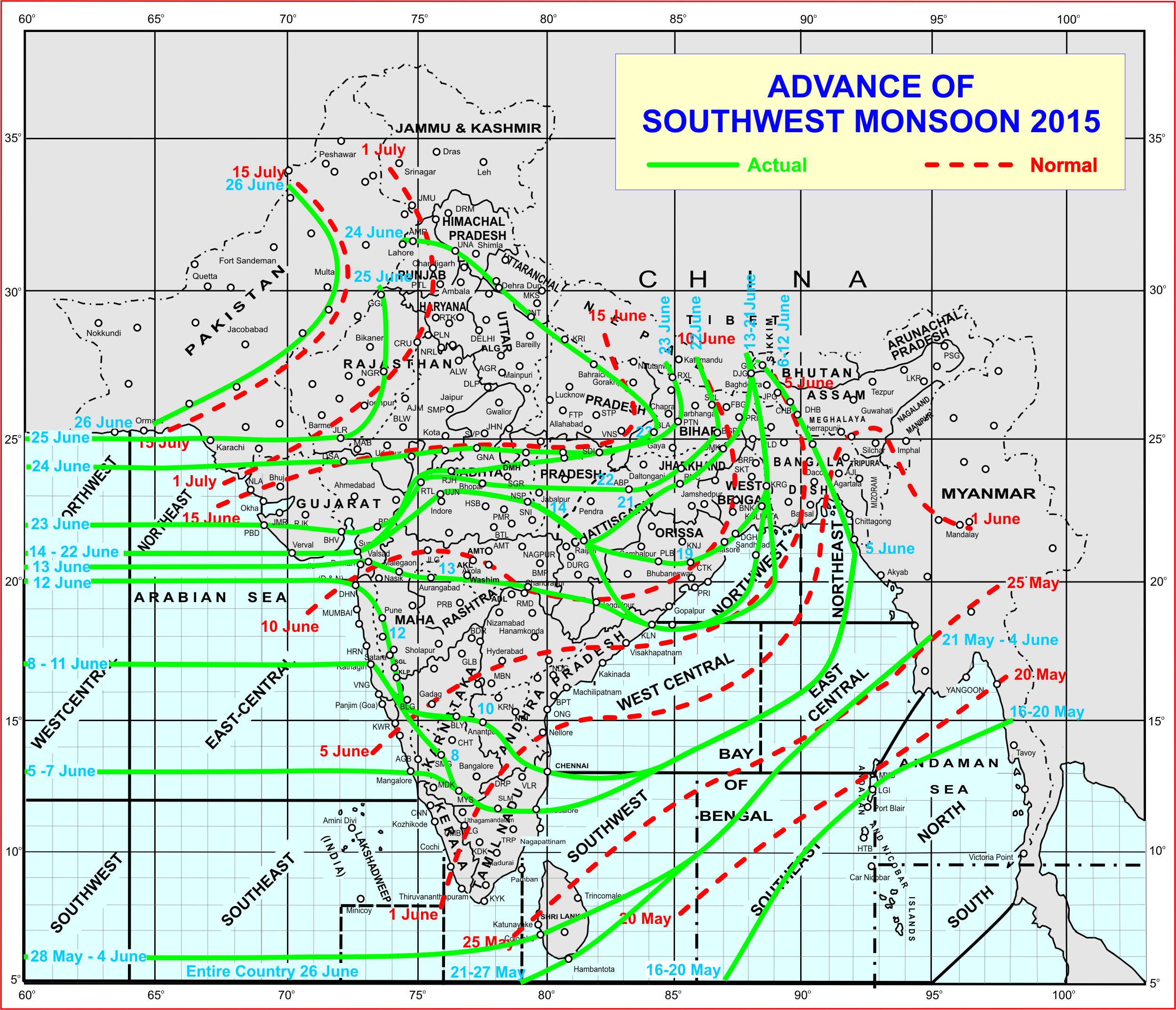 A map that shows deviation in movement of monsoon (IMD)