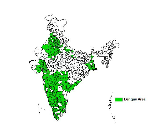 Distribution of dengue and dengue haemorrhagic fever (Source: National Vector Borne Disease Control Programme)