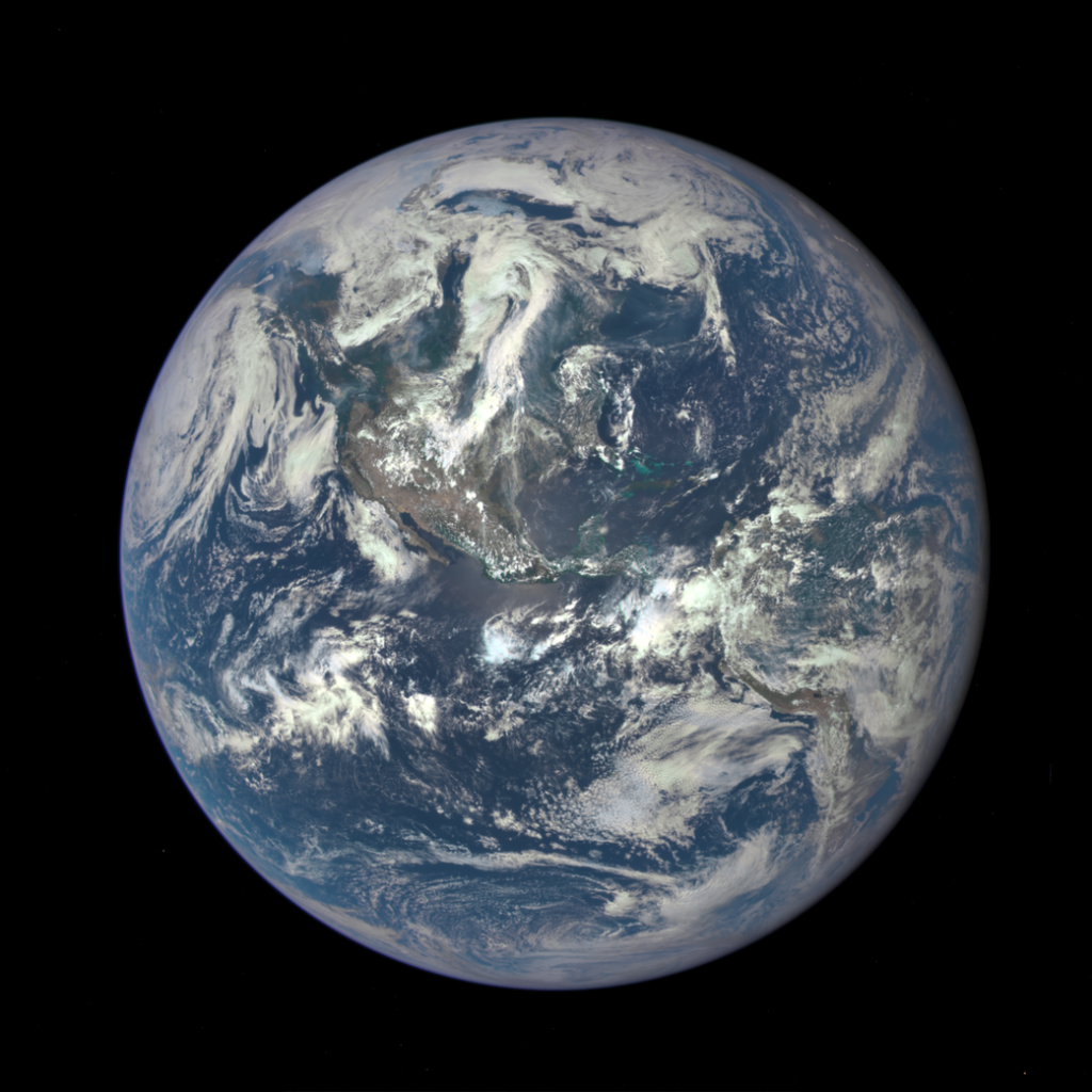 Earth as captured by NASA's camera from 1.6 million kilometres away