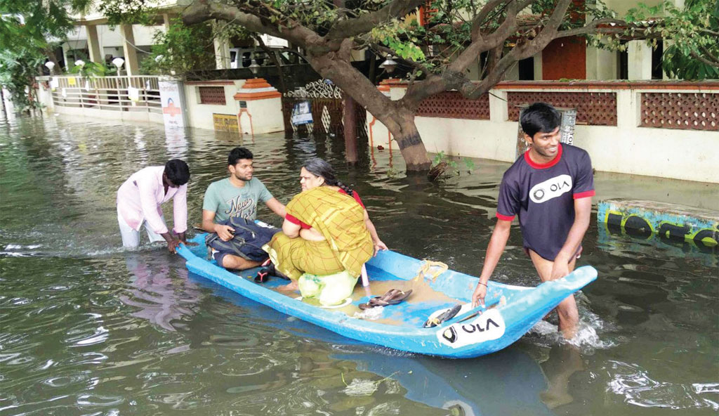 Taxi aggregator Ola launched free boat service in flood-hit areas of Chennai (Courtesy: OLA)