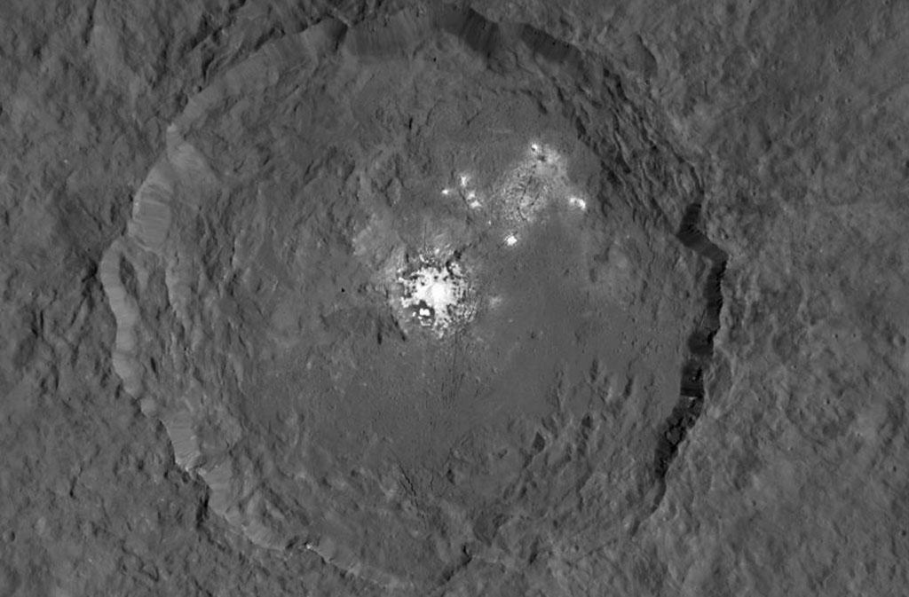 The image, made using images taken by NASA's Dawn spacecraft, shows Occator crater on Ceres, home to a collection of intriguing bright spot