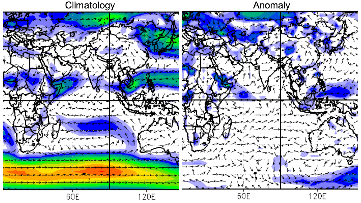 Normal v anomalous wind pattern at 5,000 feet above ground (Credit: NCEP)