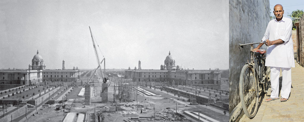 Rashtrapati Bhavan (top) when it was being constructed. Jeet Singh (left) claims the British took away his forefathers' land to build these institutions (Photographs Courtesy: New Delhi: Making Of A Capital (Roli Books))