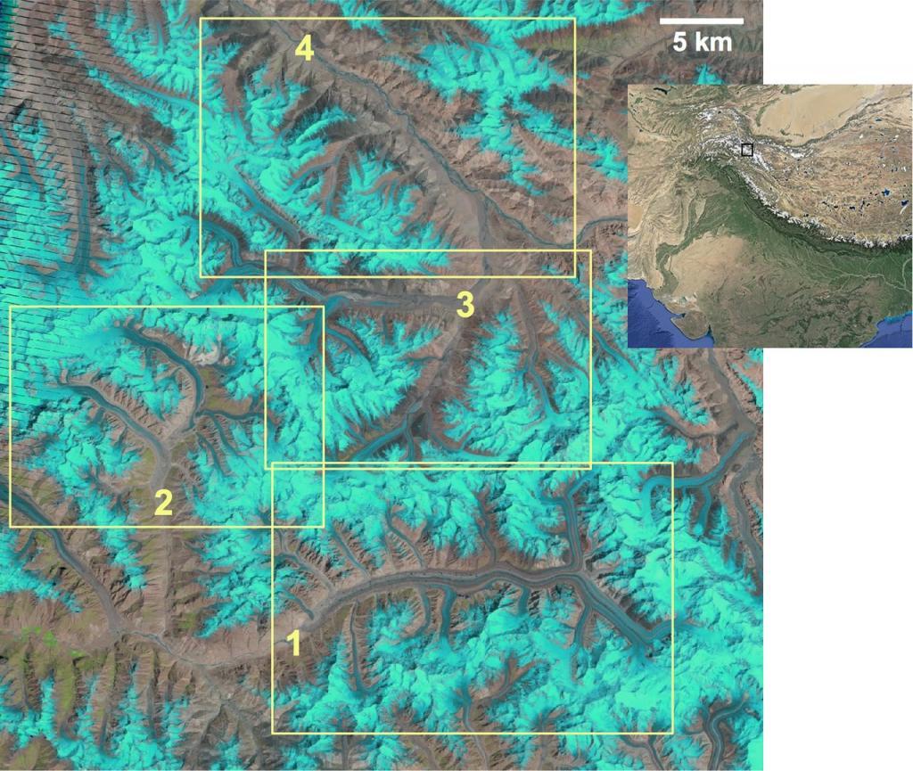 Satellite image of the study region in the Karakoram Credit: F. Paul, The Cryosphere