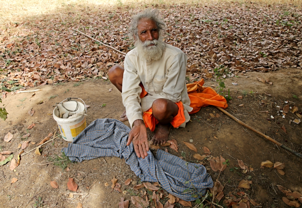 Bhawani Deen Yadav of Mahoba district, who has lost most of his goats  Credit: Vikas Choudhary