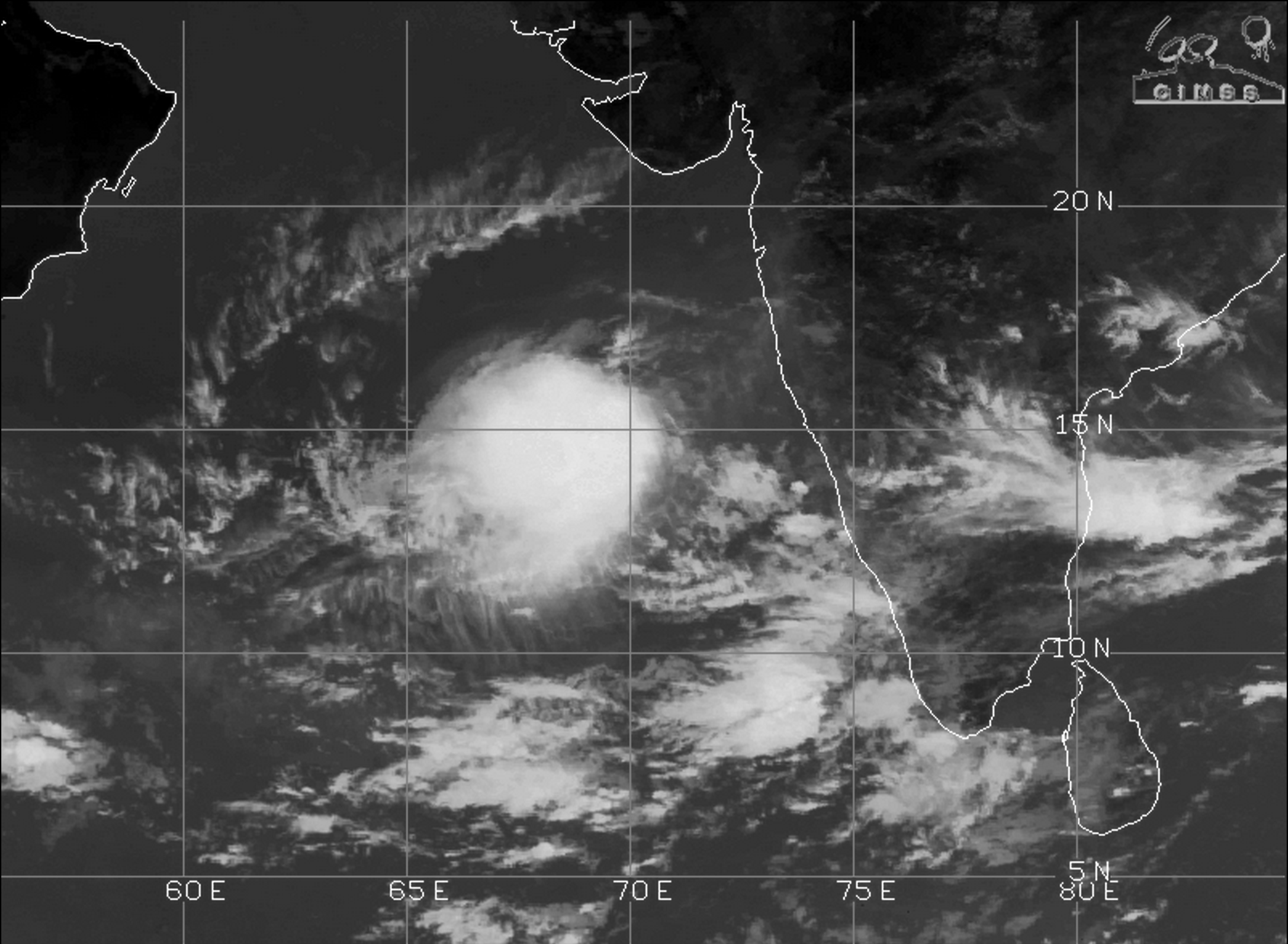The image shows the formation of tropical depression in the Arabian Sea as can be seen in the satellite image on October 9   Courtesy: CIMSS