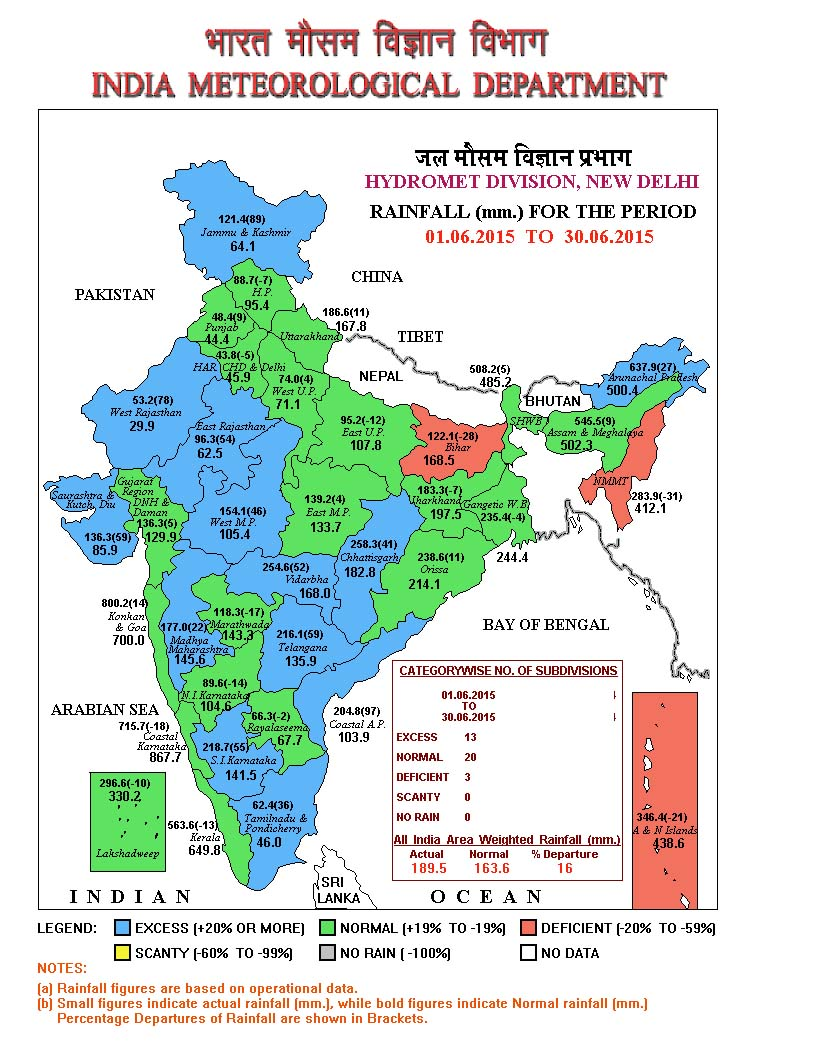 IMAGE 1- All India rainfall in the month of June '15. Courtesy IMD