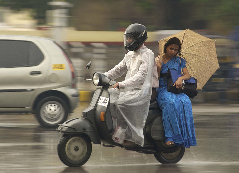 A couple on a monsoon day in Bengaluru  Credit: Wikimedia Commons