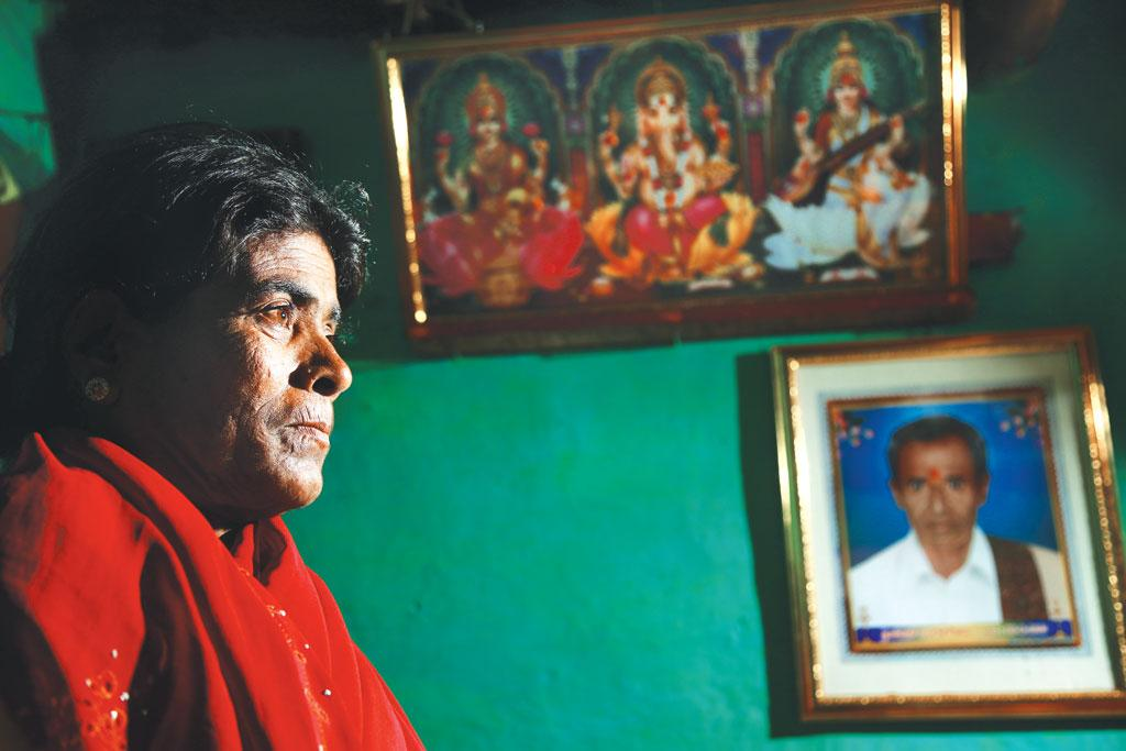 Boramma, whose husband Ninge Gowda committed suicide, says he was extremely worried about their mounting debts