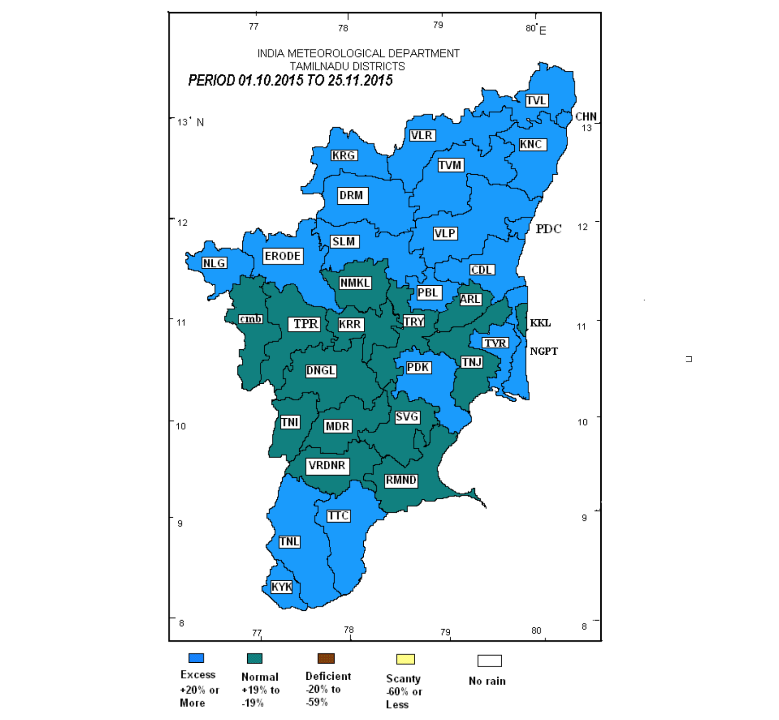 District rainfall map of Tamil Nadu (1st October to 25th November period) showing districts with normal and excess rainfall. 