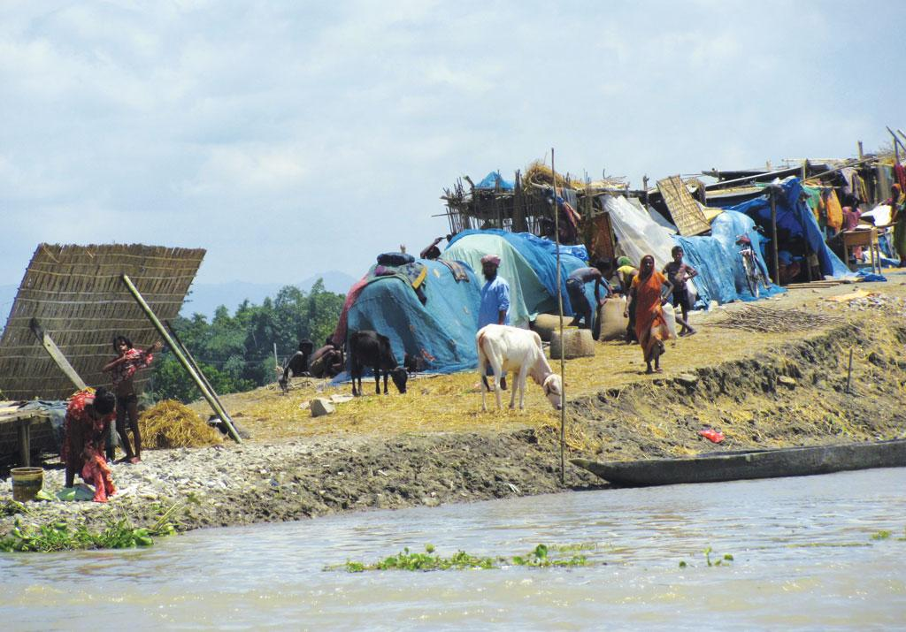 A makeshift camp in Morigaon district set up by people who lost their homes to soil erosion caused by floods