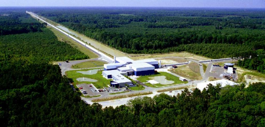 LIGO has two identical detectors: one in Livingston and other in Hanford, Washington, USA. This is the Livingston site detector with the central building joining two 4 kilometre arms credit: LIGO