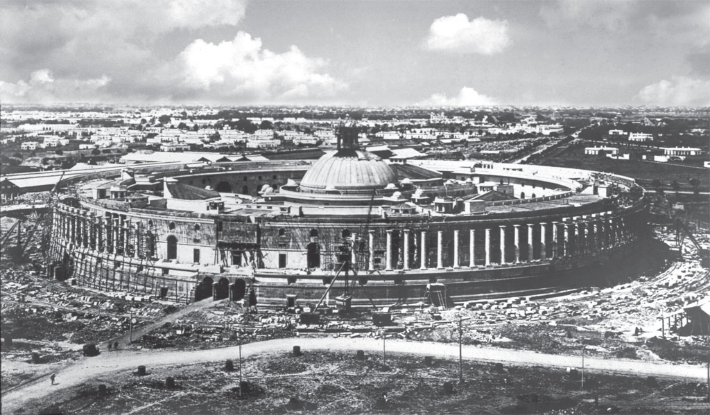 Parliament complex under construction. The land was carved out of seven villages
