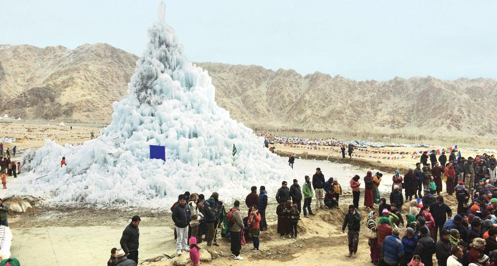 The ice stupa stored about two million litres of water. It melted to shed 3,000 to 5,000 litres of water every day (Source: DADUL)