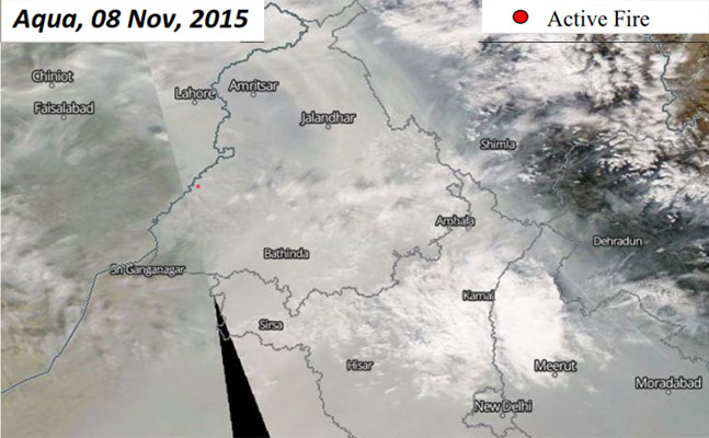Aqua, 8Nov, 2015: (1) Very thick fog cover was obstructing clear satellite view Fires seen in Fazilka,  Firozpur, Bathinda and Muktasar districts (2) Number of fires (7) drastically less than the previous day (476)