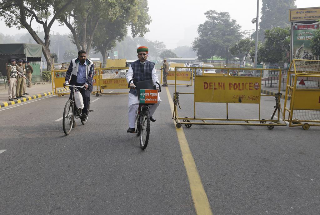 Meghwal says he had been asking for permission to use his bicycle to come to Parliament and a place to park it since 2010. But he did not get permission then. He has found the cycle tyres punctured on more than one occasion. Someone had once even broken the handle