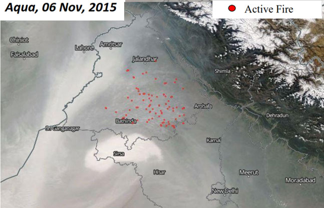 Aqua, 6Nov, 2015: (1) Most fires seen in Sangrur, Ludhiana and Patiala districts (2) Number of fires (107) slightly decreased from the previous day (144)
