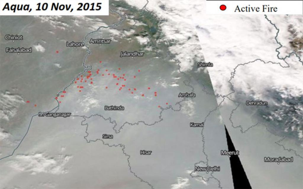 Aqua, 10Nov, 2015:(1) Most fires seen in Sangrur, Barnala and Firozpur districts (2) Number of fires (170) sharply less than the previous day (552)