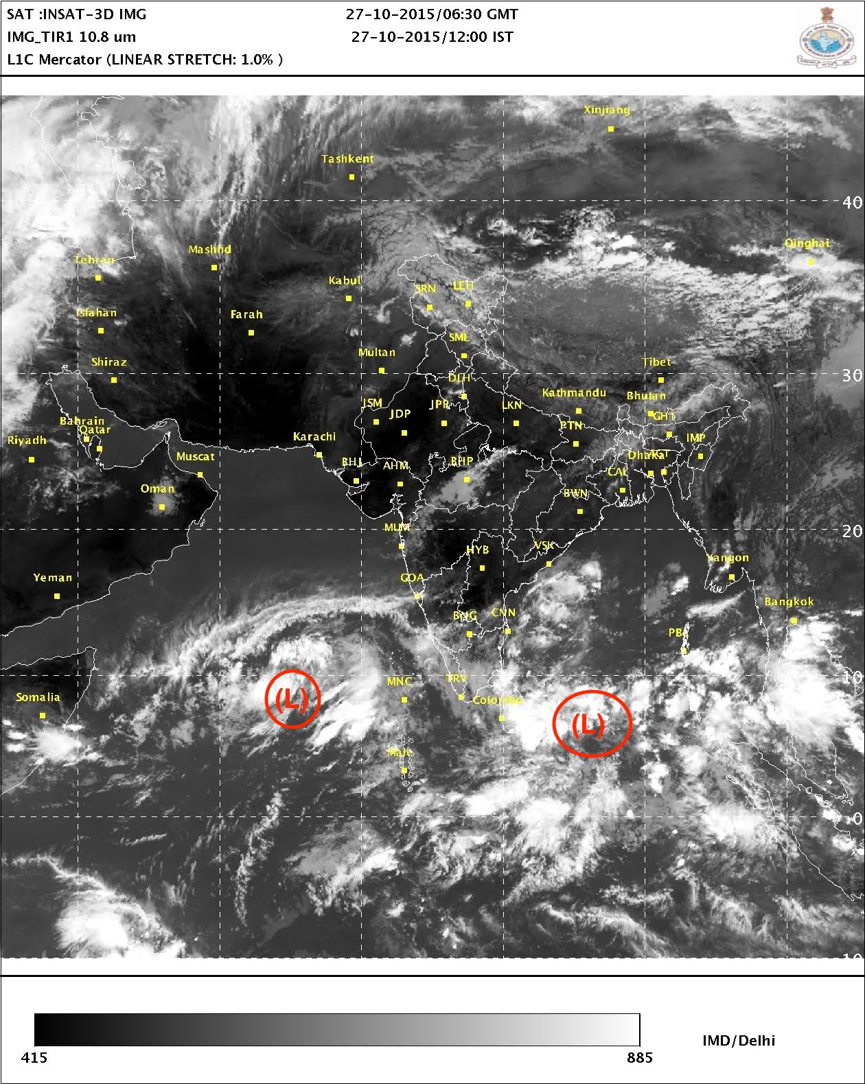 Approximate positions of low pressure systems (denoted by 'L') in the Arabian Sea and the Bay of Bengal according to a satellite image as of the afternoon on October 27 (Courtesy: India Meteorological Department)