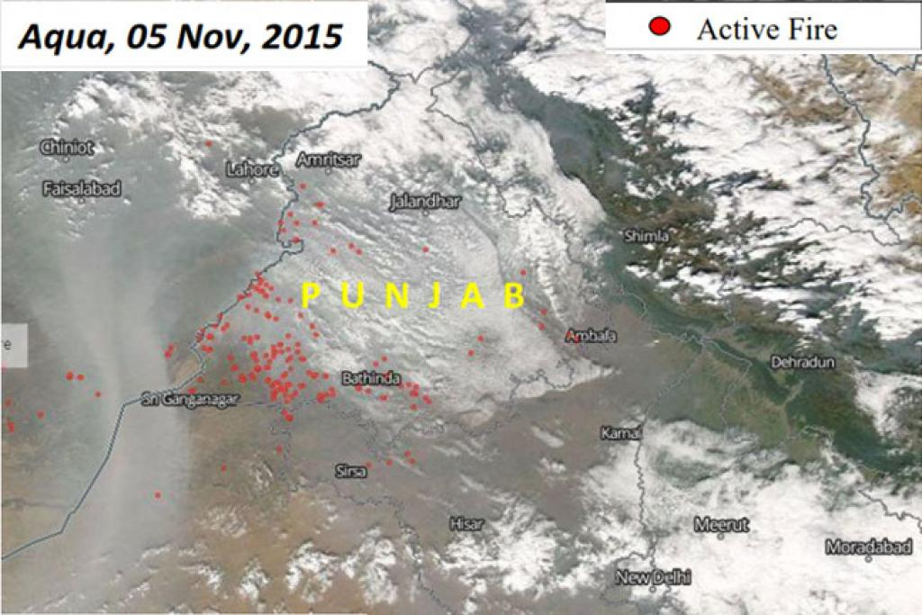 Aqua, 5Nov, 2015: (1) Most fires seen in Muktasar, Fazilka and Bathinda districts (2) Number of fires (144) more than almost double the previous day (57)
