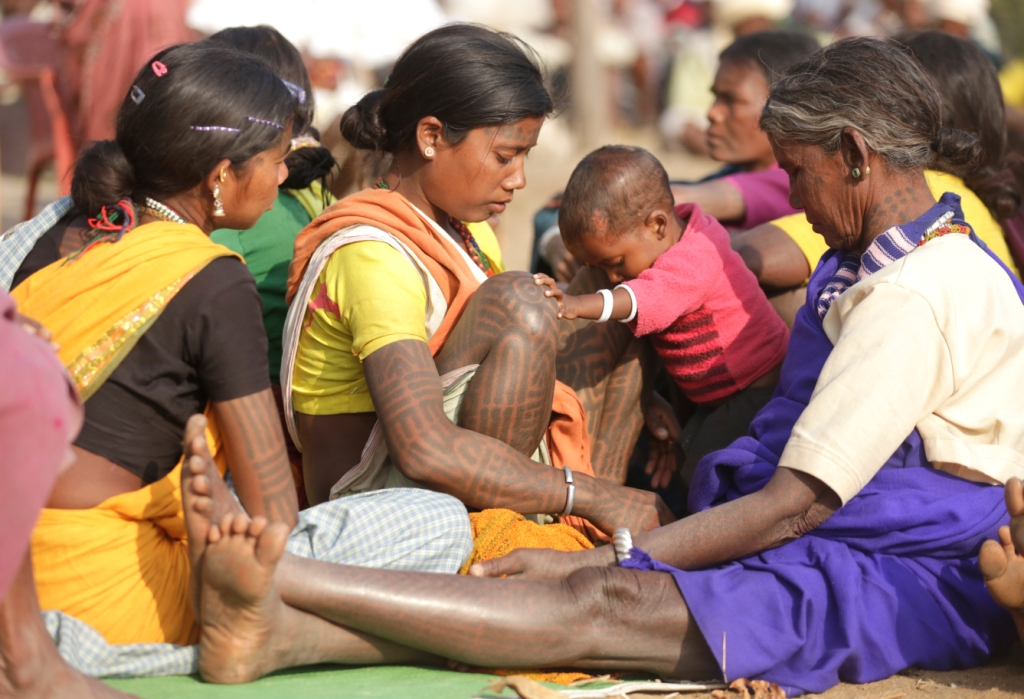 Tattoos are considered an important part of Baiga culture. The community maintains a uniform style of tattoos