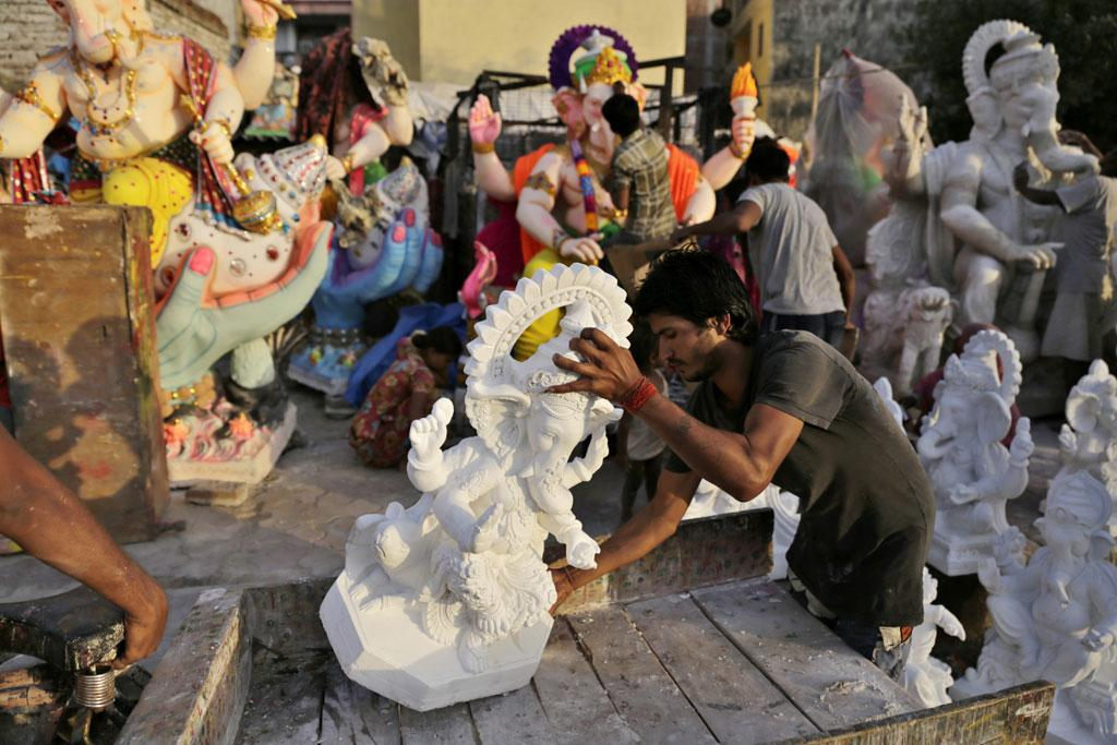Not all Ganesha idols are made in Delhi. Especially the bigger ones that are made in other states such as Maharashtra and brought to Delhi by the artisans