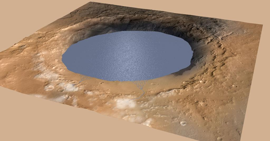 Simulated view of Gale Crater Lake on Mars (Photo courtesy: NASA/JPL-Caltech/ESA/DLR/FU Berlin/MSSS via Wikimedia Commons)