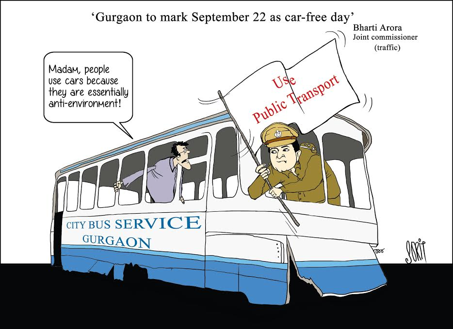 Cartoon: When Gurgaon will mark a car-free day (By Sorit Gupto)