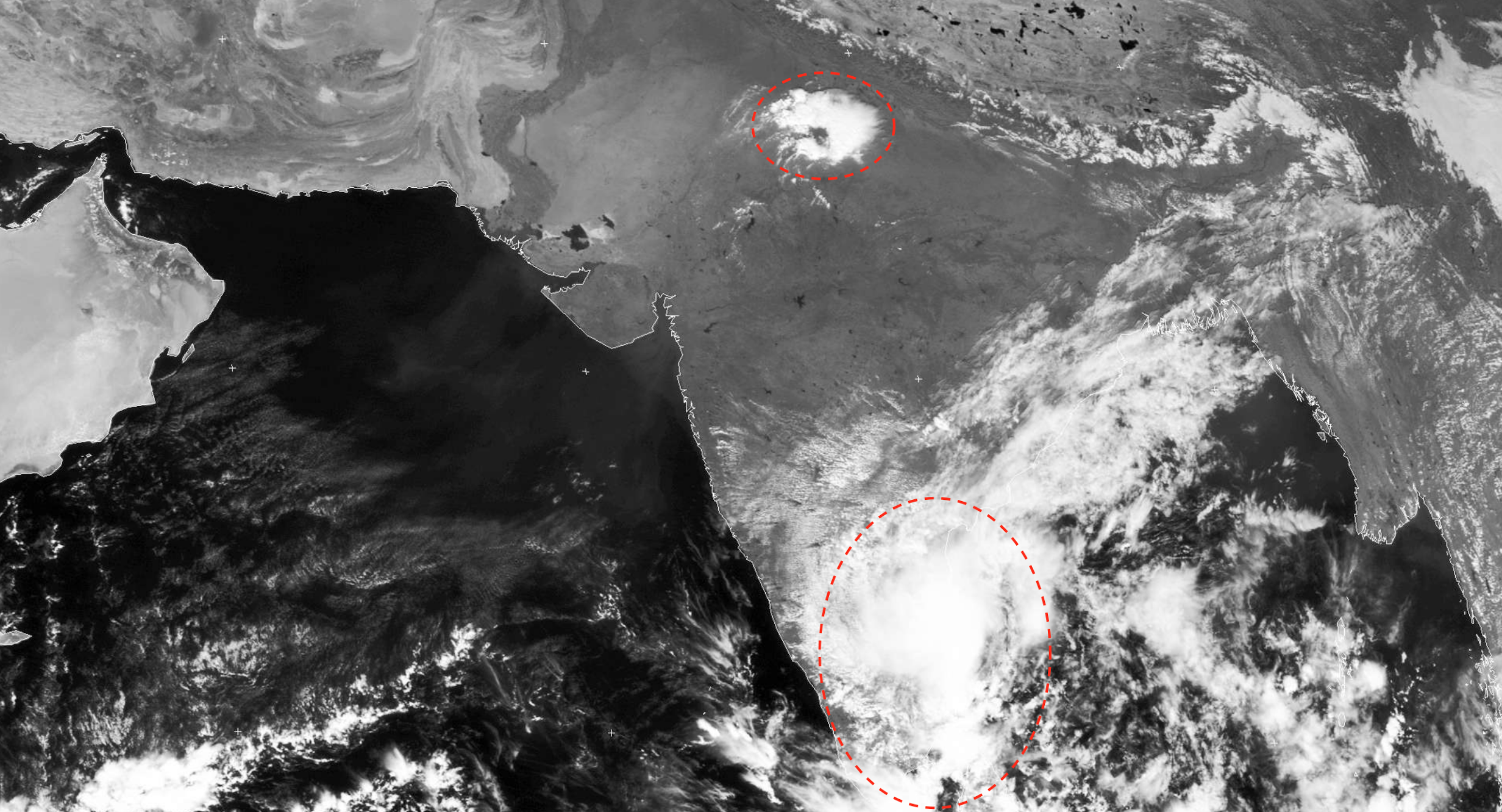 A satellite image showing intense thunderstorm in Rajasthan and Uttar Pradesh, along with dense clouding over Tamil Nadu (both circled red) (Photo: University of Dundee)