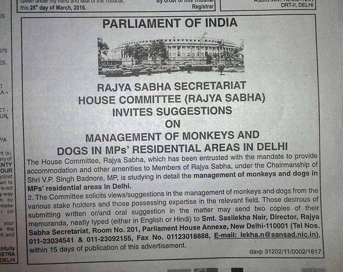 Advertisement published in a newspaper seeking suggestions from experts to deal with the monkey menace