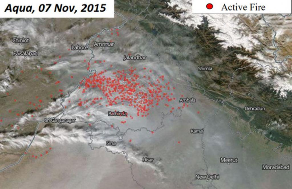 Aqua, 7Nov, 2015: (1) Most fires seen in Ludhiana, Firozpur and Moga districts (2) Number of fires (476) more than 4 times the previous day (107)
