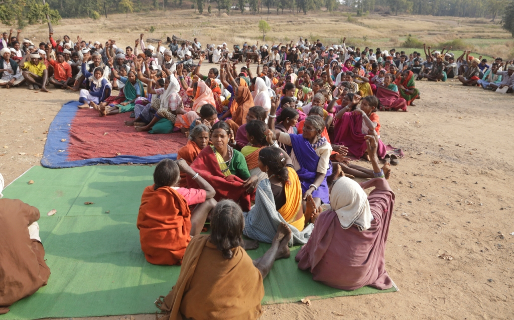 The Baiga tribals gathered in Rajni Sarai village in Madhya Pradesh where they are celebrating the recognition of their habitat rights. In January 2016, they became the first community in India to be given these rights.