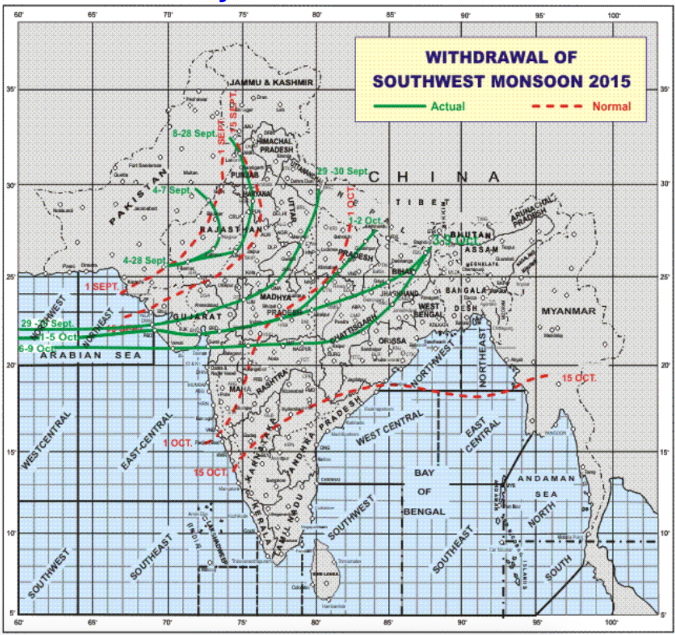 The image shows the withdrawal of the south-West monsoon from the Indian sub-continent  Courtesy: IMD