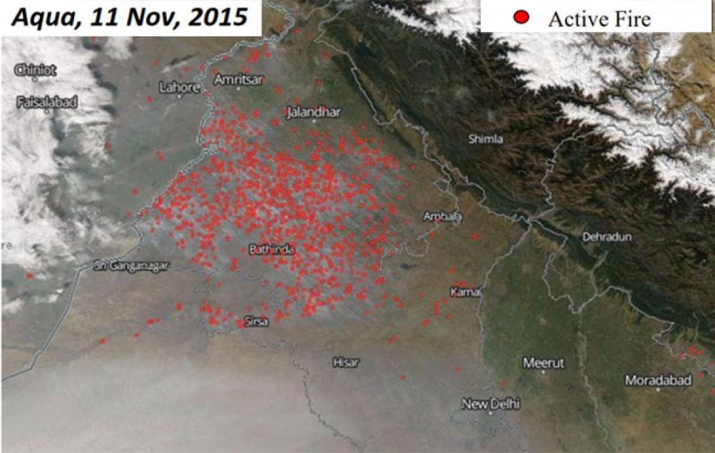 Aqua, 11Nov, 2015:(1) Maximum number of fires seen in the entire week Coincided with Diwali Most fires seen in Ludhiana, Moga and Sangrur districts (2) Number of fires (991) almost 6 times the previous day (170)