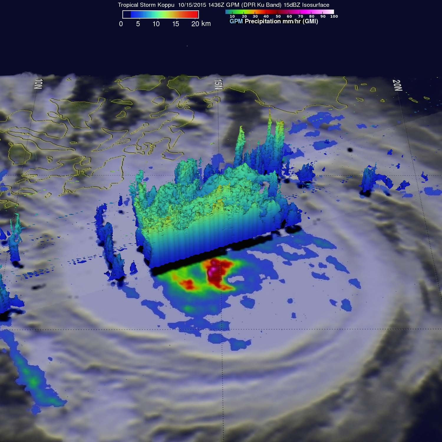 Three days ago, Global Precipitation Measurement witnessed rain falling at a rate of over 133 mm (5.3 inches) per hour in intense convective thunderstorms just southwest of Koppu's centre